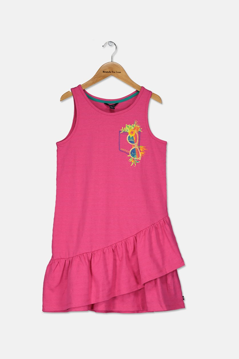 Big Girls Textured Dress, Dark Pink