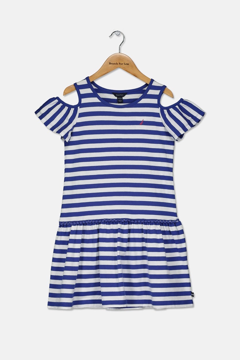 Big Girl's Striped Dress, White/Blue