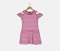Nautica Big Girls Stripe Dress, Pink/White