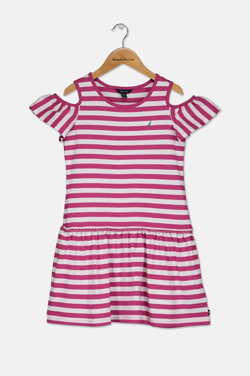 Big Girls Stripe Dress, Pink/White