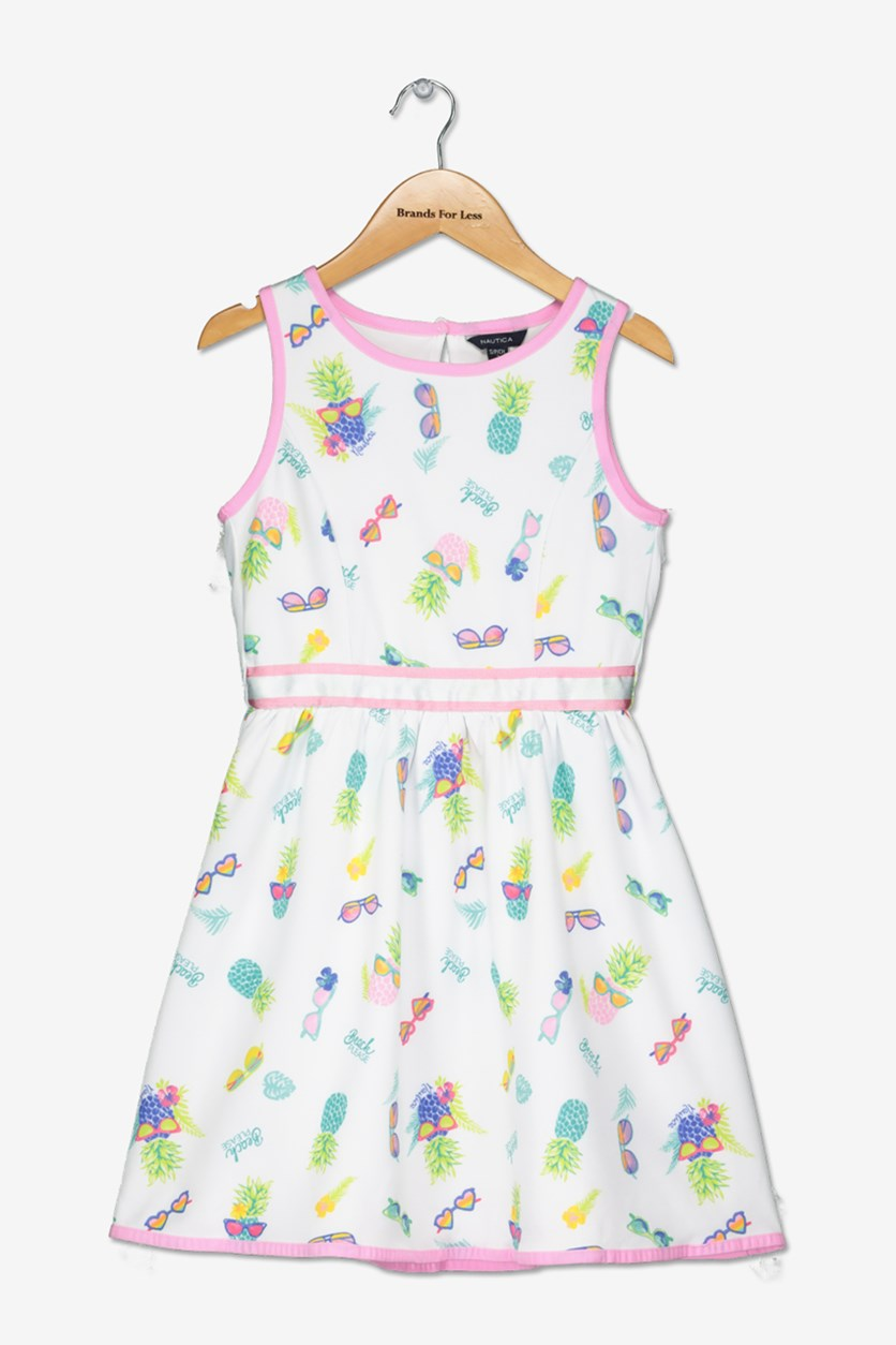 Little Girls Allover Print Dress, White/Green/Purple