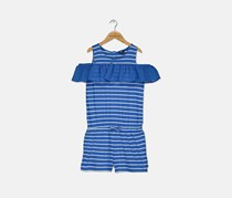 Nautica Big Girl's Cold Shoulder Romper, Blue/White