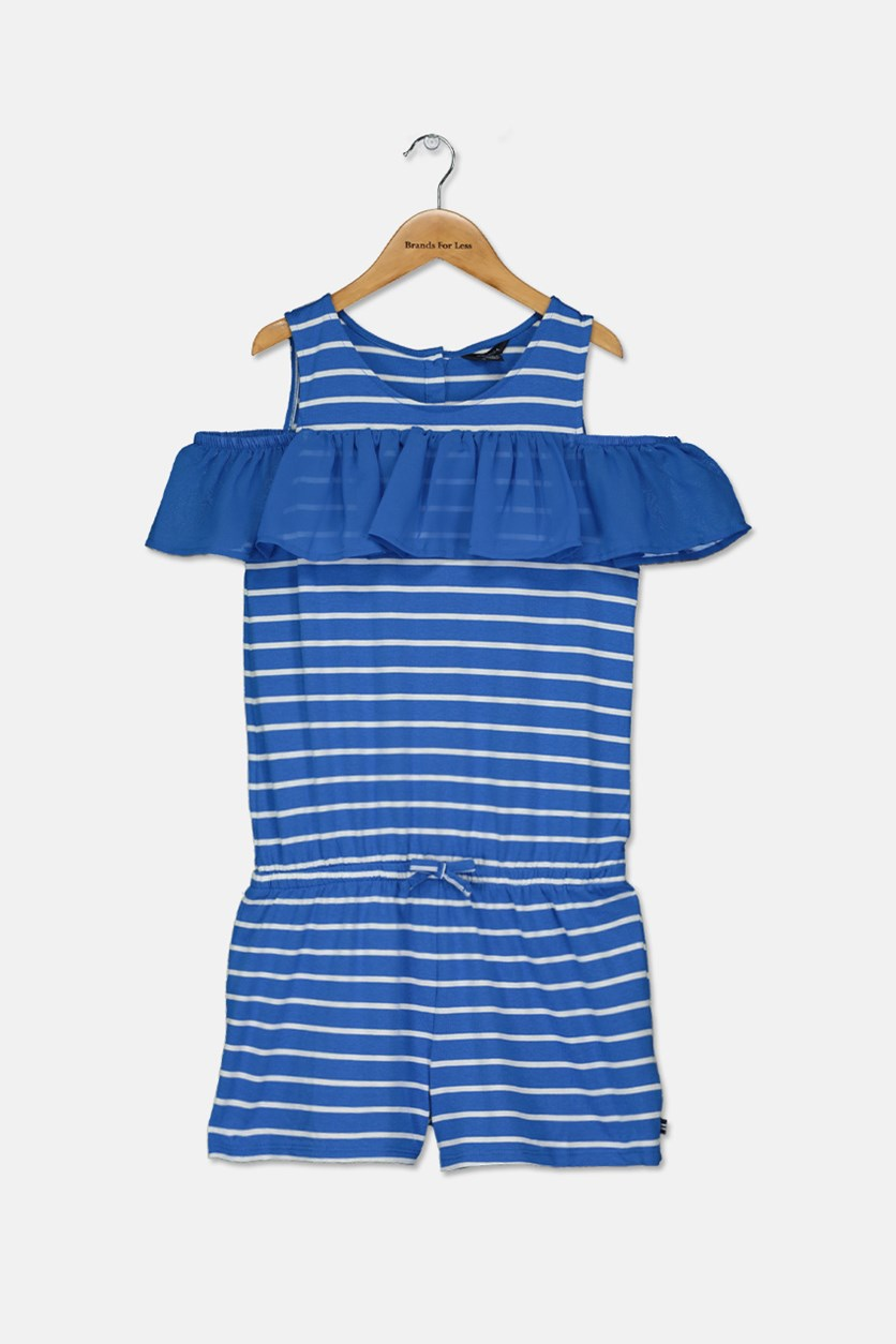 Big Girl's Cold Shoulder Romper, Blue/White