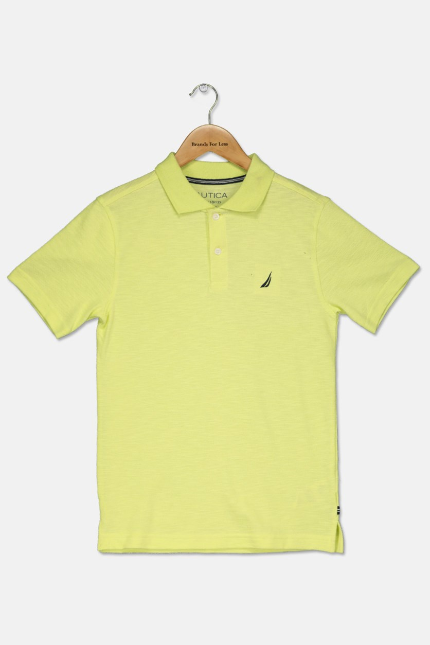 Big Boy's Short Sleeves Polo Shirt, Sun Lime