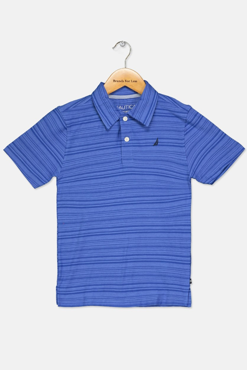 Little Boy's Stripe Polo Shirt, Cobalt