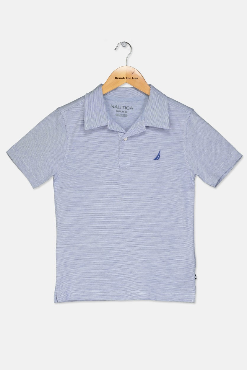 Big Boy's Stripped Polo Shirt, Cobalt