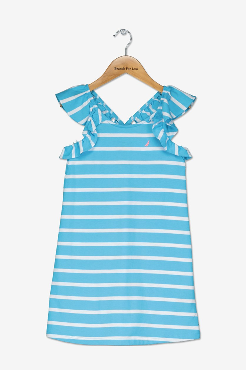 Kids Girls' Stripe Ruffle Trim Dress, Turq