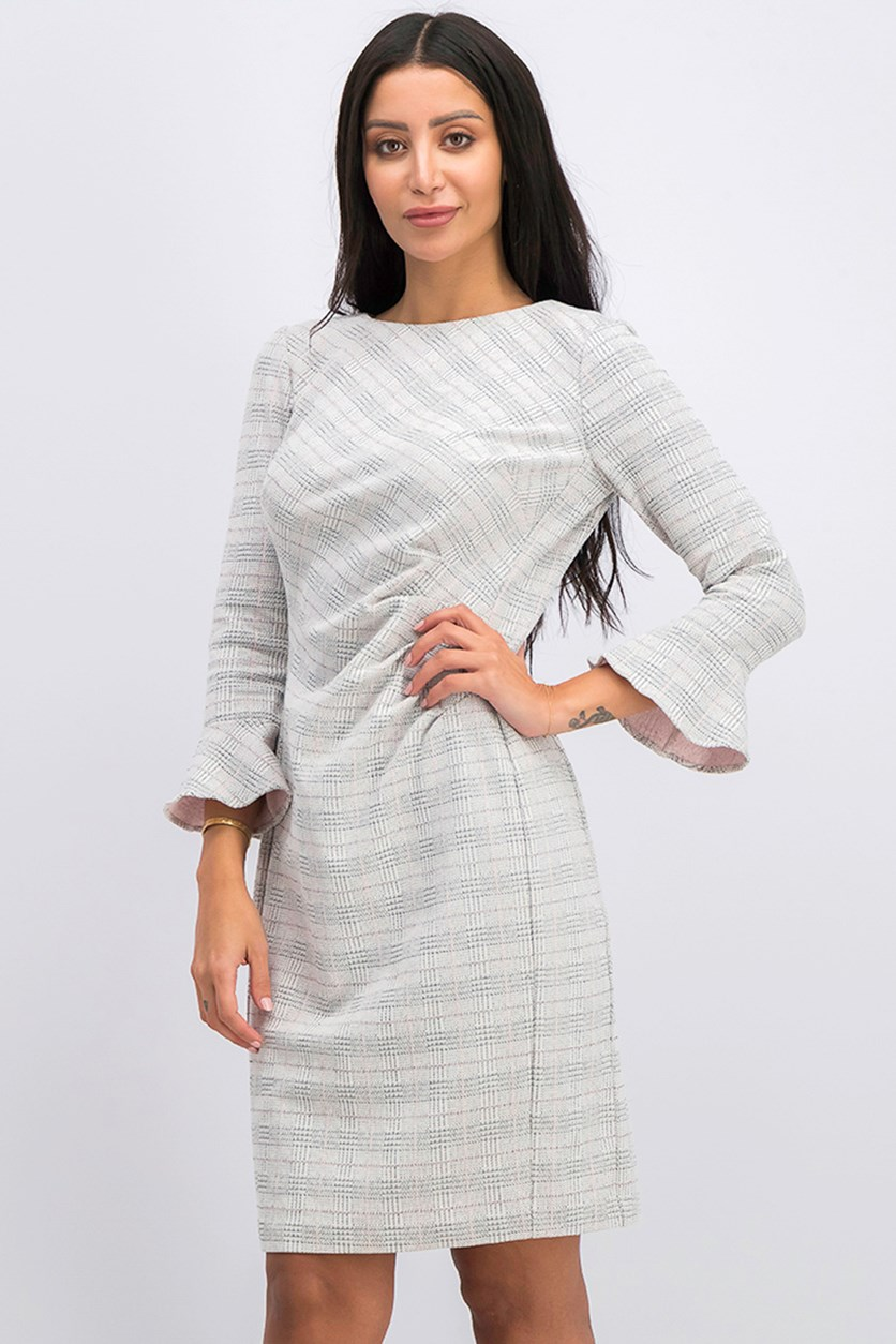 Women's Knit Plaid Daria Dress, Cream Combo