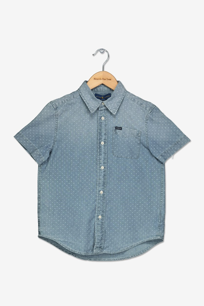 Girl Short-Sleeve Chambray Shirt, Blue