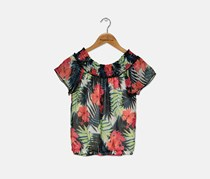 Nowadays Kids Girl's Floral Print Top, Red/Black Combo