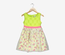 Sweet Heart Rose Girls Glitter-Mesh Watermelon-Print Crochet Dress, Lime/White Combo