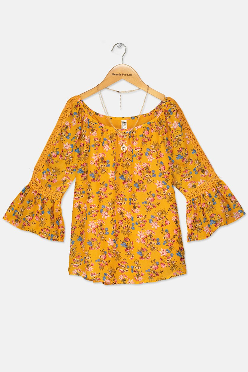 Kid Girl's Floral Printed Top, Yellow Combo