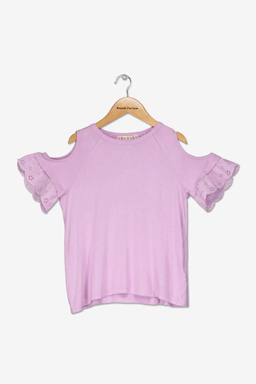 Kids Girls Eyelet Ruffle Cold Shoulder Top, Sunbaked Purple