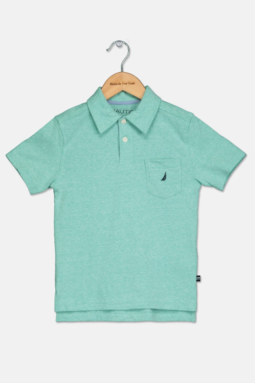 Little Boys Plain Polo Shirt, Pool Blue