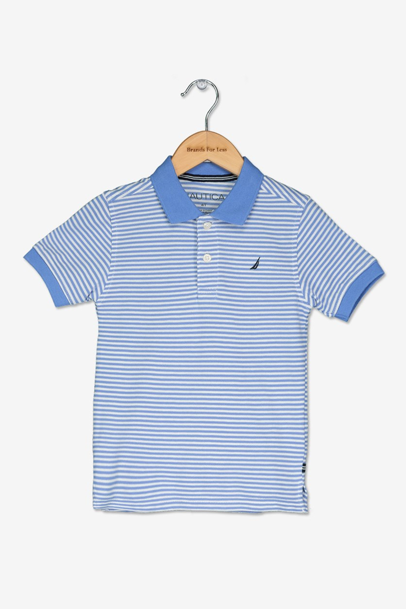 Toddler Boy's Striped Polo Shirt, Corn Blue