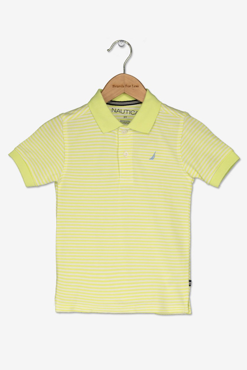 Toddler Boy's Striped Polo Shirt, Sun Lime