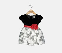 Sweet Heart Rose Flocked Velvet Occasion Dress, Black/White