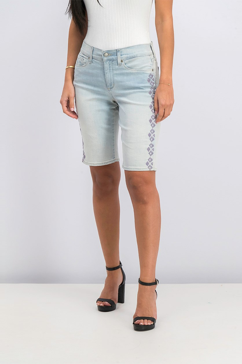 Embroidered Tummy-Control Denim Short, Palm Desert