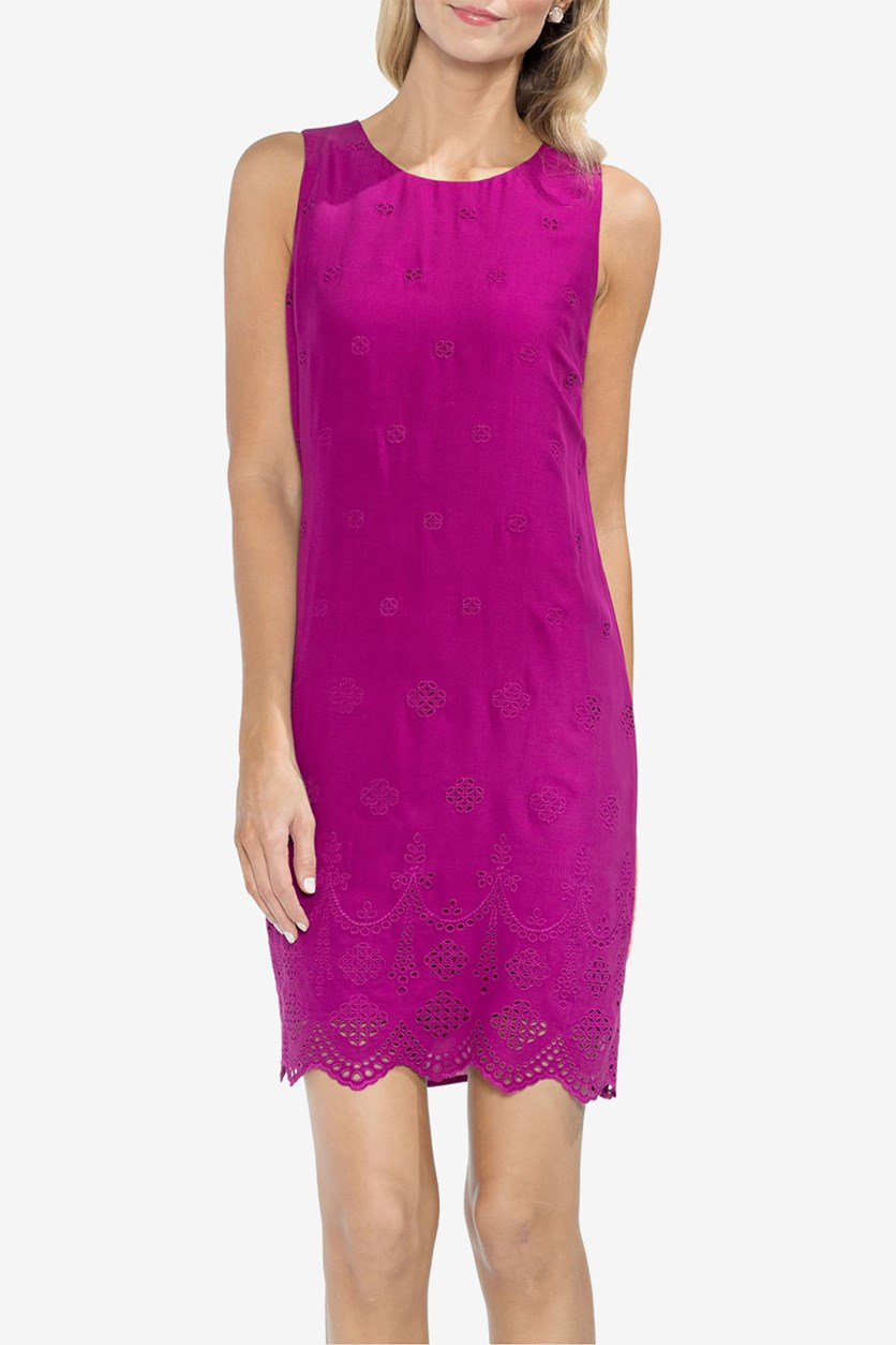 Scalloped Eyelet Shift Dress, Fuchsia Fury