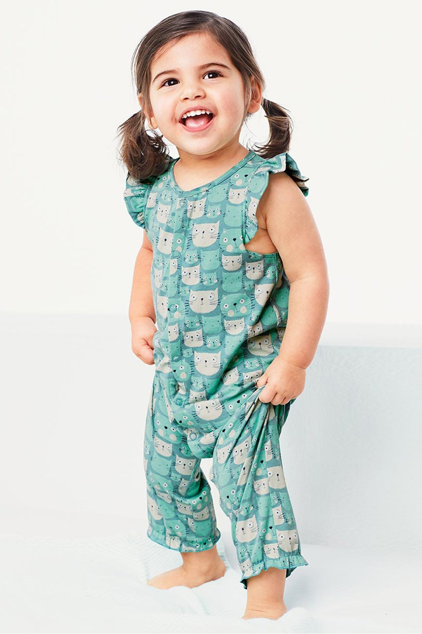 Toddlers Romper Suit, Mint/Turquoise