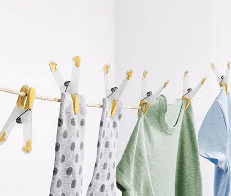 20 Clothes Pegs, Yellow/Transparent