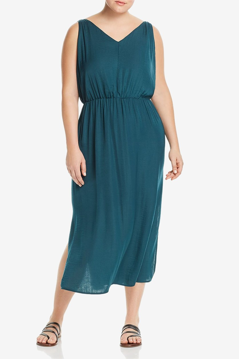 Women's Plus Size Cinched Maxi Dress, Green