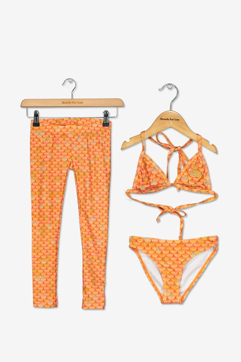 Girls' 3-Piece Set Swimwear, Coral/Orange