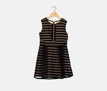 Bardot Kids Girl's Velour-Striped Dress, Black