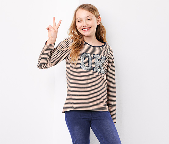 Girls Long-Sleeved Top With Reversible Sequins, Rose/Navy