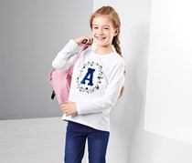 Girl's Long-Sleeved Top With Reversible Sequins, White