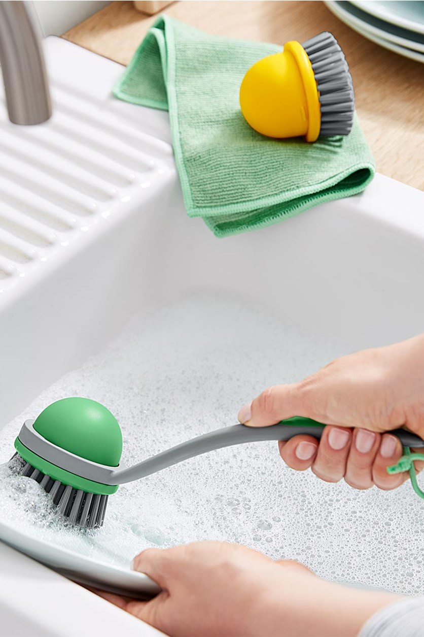 Washing-Up Brush  2 in 1, Green/Yellow
