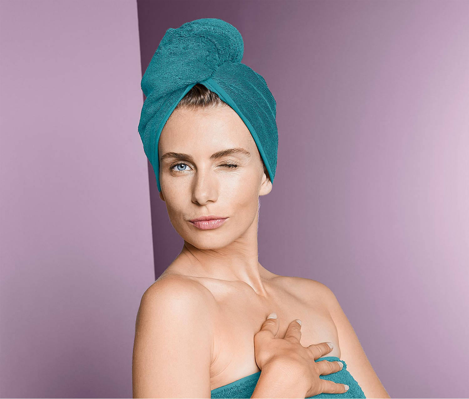 Women's Turban Towel, Aqua Blue