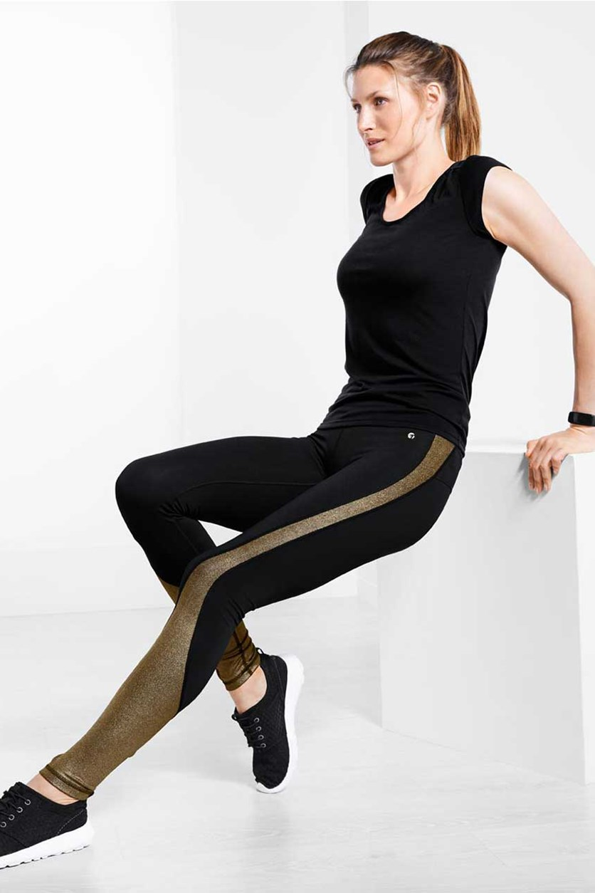Women's Sports Tights with Glitter Print, Black