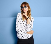 Women's Blouse Shirt with Dotted Pattern, White/Black/Pink