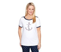 Alfred Dunner Women's Misses Embroidered Anchor Top, White
