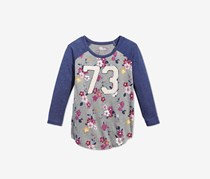 Big Girls Floral T-Shirt, Pewter Heather