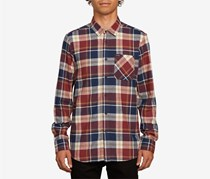 Volcom Men's Modern Fit Caden Plaid Longsleeve Flannel Shirt, Red Combo