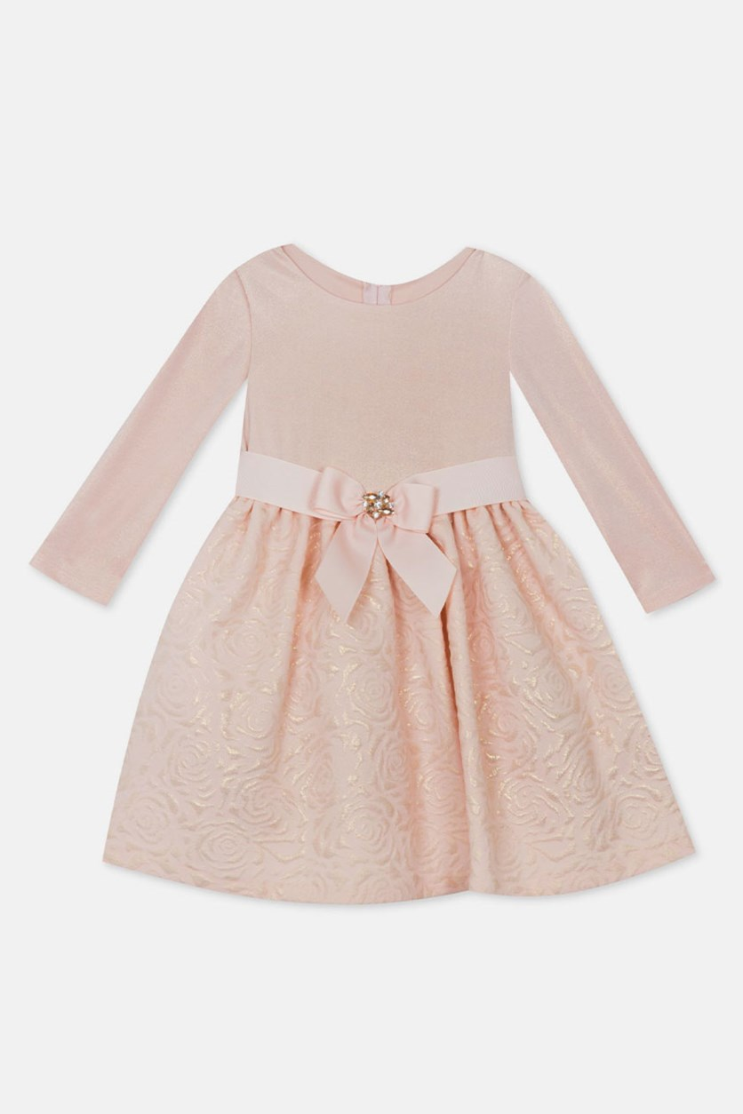 Toddler Girls Textured Knit Brocade Dress, Blush