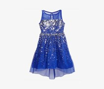 Crystal Doll Kids Girl's High-Low Illusion-Neck Sequin Dress, Blue