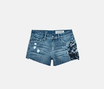 AG-ED Denim Girls Frayed Embroidered Shorts, Blue