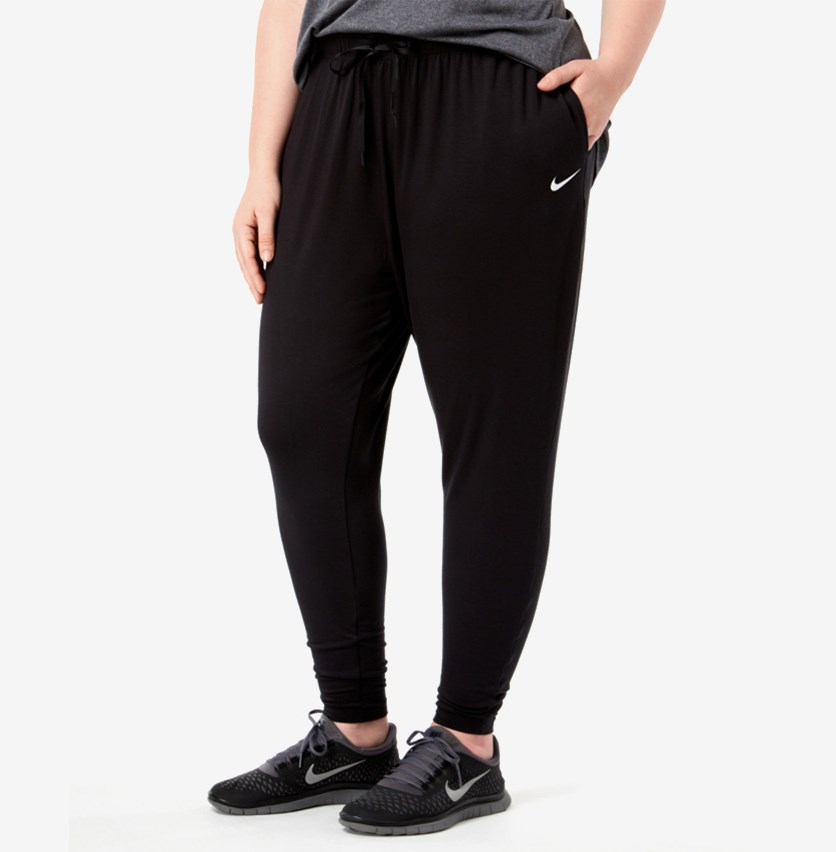Women's Plus Size Drawstring Relaxed Joggers Pants, Black