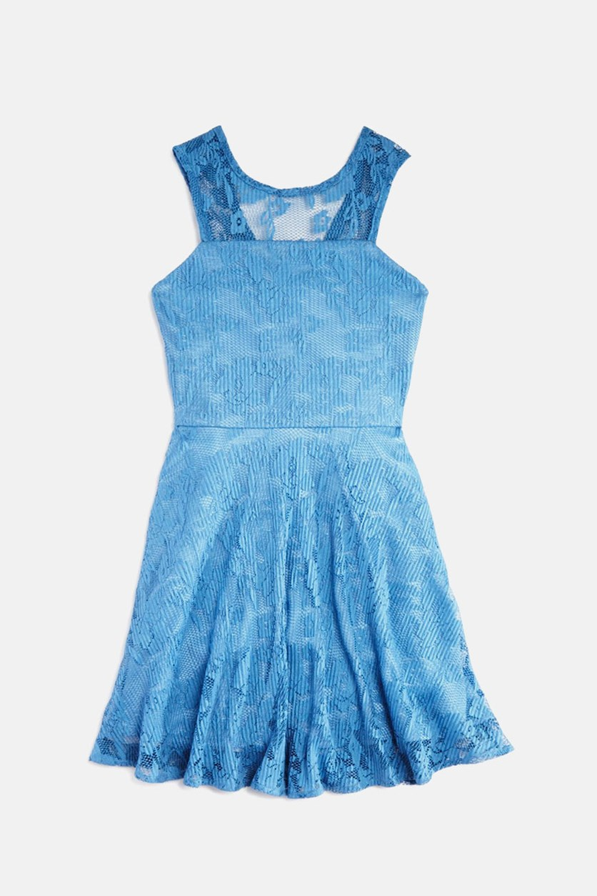 Girls' Lace Skater Dress, Blue