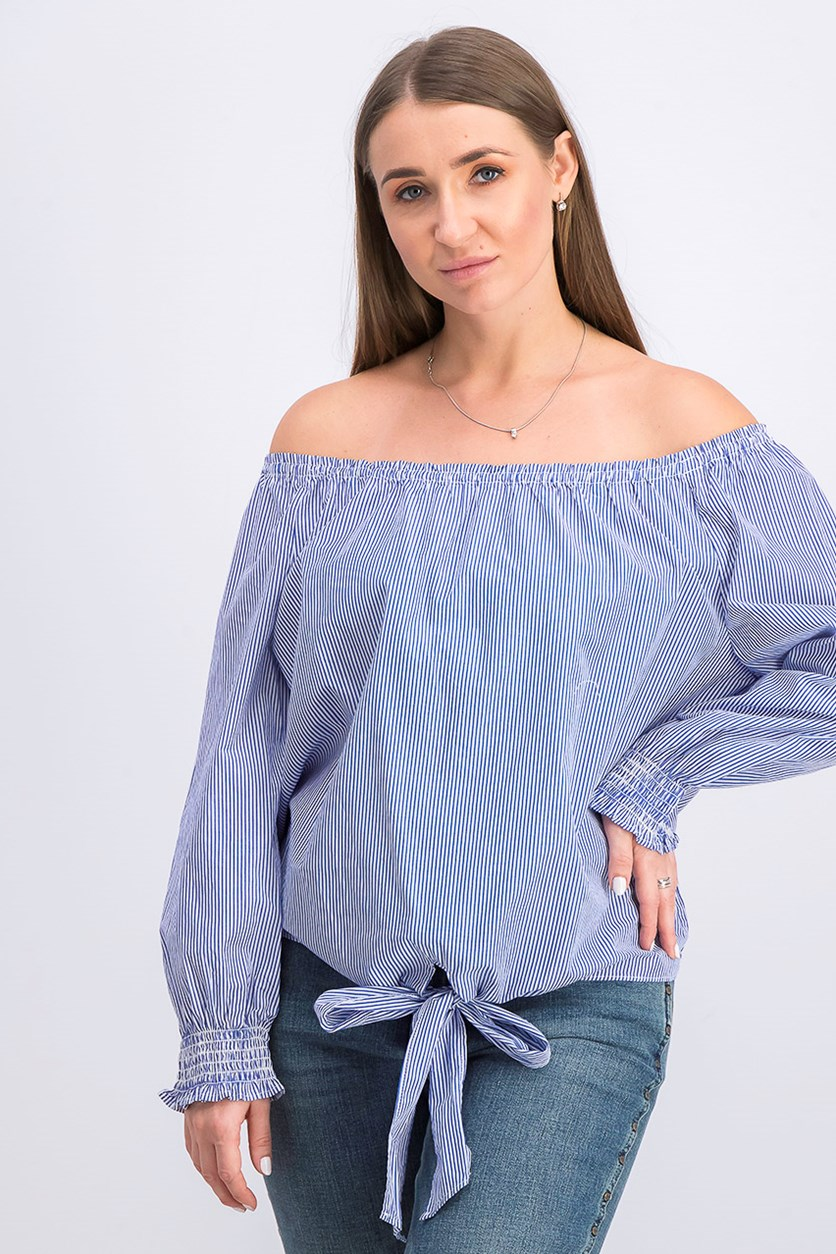 Women's Stripe Off Shoulder Top, Blue/White