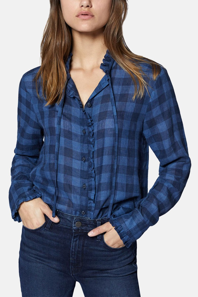 Greyson Check Ruffle Trim Blouse, Blue