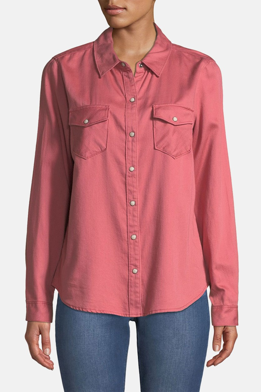 Work Snap-Button Cotton Shirt, Coral Pink