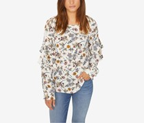 Sanctuary Womens Tilly Floral Print Blouse, Off White Combo
