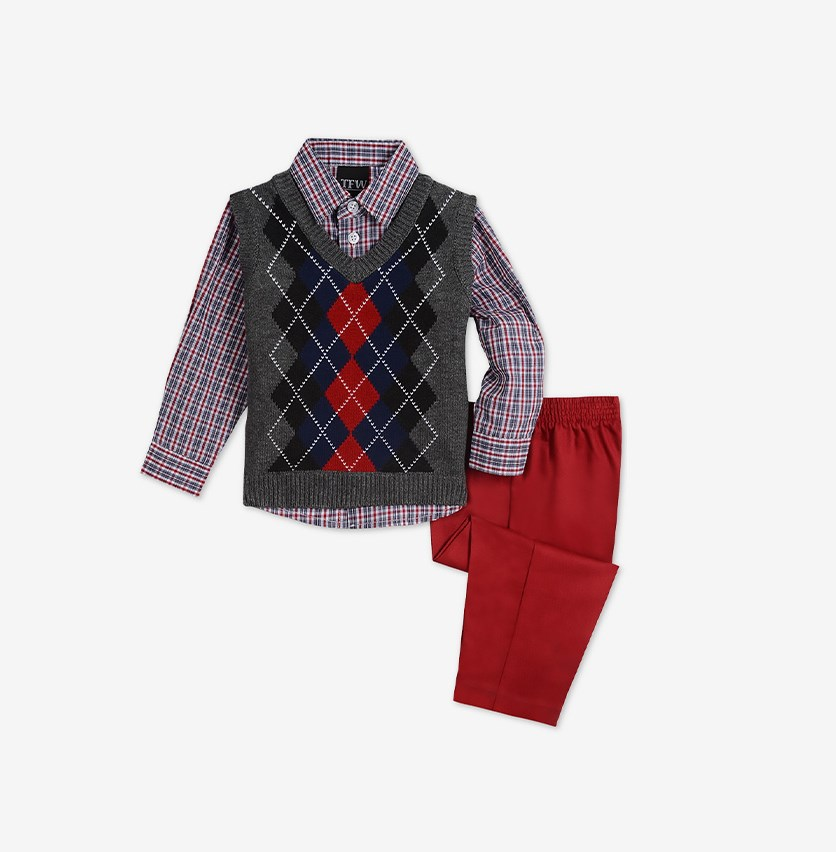 Baby Boys 3-Piece.Argyle Sweater Vest & Pants Set, Dark Gray/Red