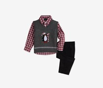 Nautica Baby Boys 3-Pc. Penguin Sweater Vest, Gray/Black