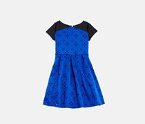 Girls' Laser-Cutout Print Dress, Blue/Black