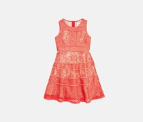 Blush By Us Angels Lace & Mesh Tiered Dress, Coral